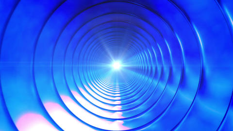 Broadcast Endless Hi-Tech Tunnel, Blue, Abstract, Loopable, HD Animation