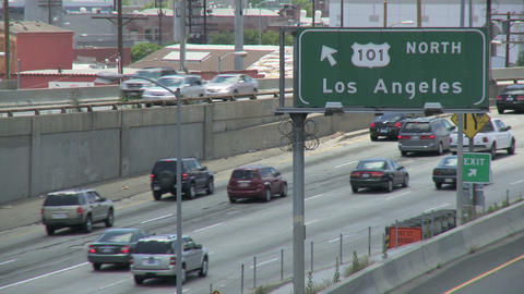 Los Angeles 101 Freeway Traffic stock footage