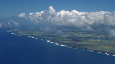 Flight over the ocean above cloud cover Footage