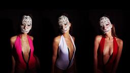 4k skull venetian carnival mask sexy erotic woman Footage
