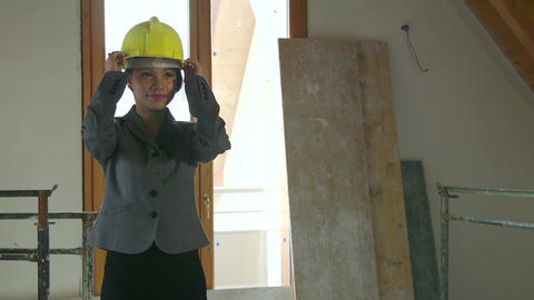 Asian Woman Portrait Engineer Architect In Construction Site New Building Footage