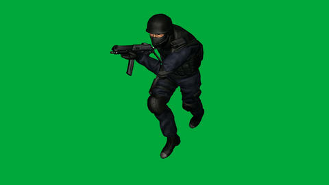 S.W.A.T. (SWAT) Man, Run and Shoot: (Looping + Matte) Animation