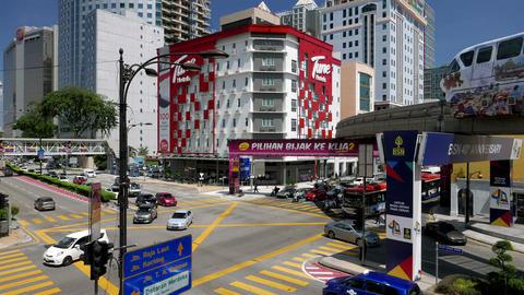 KUALA LUMPUR - February 2015: Kuala Lumpur traffic with monorail Footage