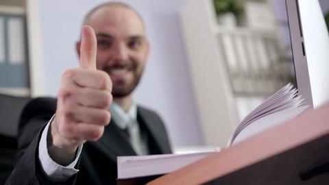 Businessman Getting Good News Footage