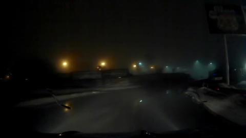 Night Foggy Dangerous Road Bend Footage