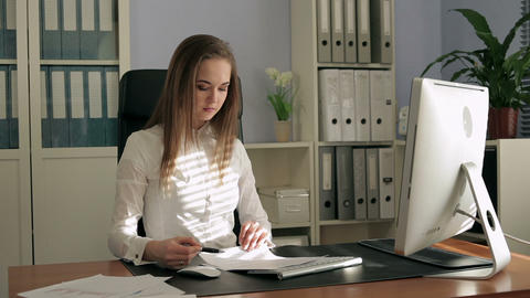 Businesswoman Sign Working Papers stock footage