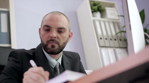 Businessman Planning His Schedule stock footage