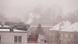 Blizzard 03 smoking chimney Stock Video Footage