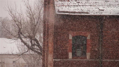 Blizzard 05 building Stock Video Footage