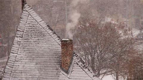 Blizzard 07 smoking chimney Stock Video Footage