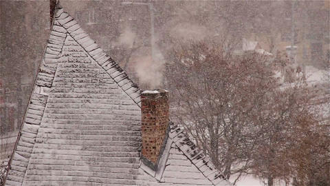 Blizzard 07 smoking chimney Footage