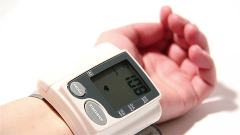 Checking Blood Pressure 14 wrist Stock Video Footage