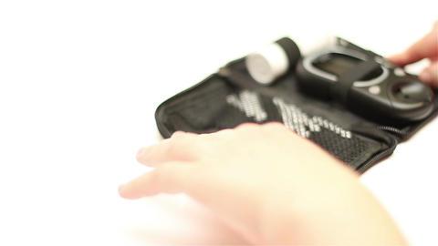 Preparing Blood Glucose Test 01 Stock Video Footage