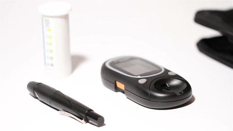 Preparing Blood Glucose Test 03 Stock Video Footage