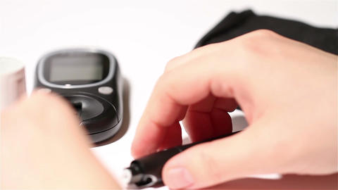 Preparing Blood Glucose Test 05 Stock Video Footage