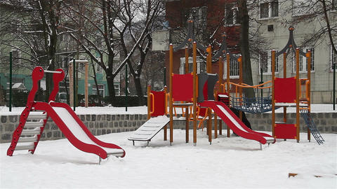 Snowy Suburb 08 playground Stock Video Footage