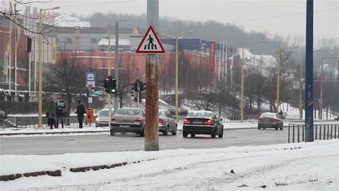 Snowy Suburb 12 traffic Footage