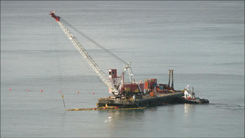 A barge at sea Stock Video Footage