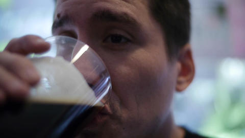 Man Drinks Beer 02 Stock Video Footage