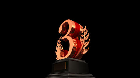 Number Trophy Prize 03b HD Stock Video Footage