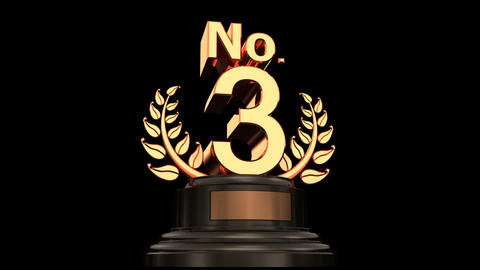 Number Trophy Prize No 03 HD Stock Video Footage
