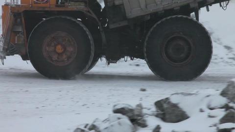 Heavy mining dump trucks Stock Video Footage