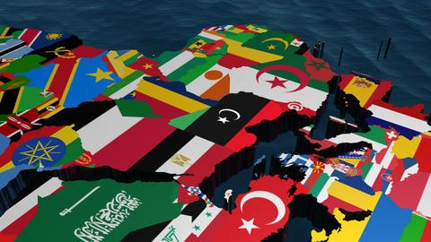 Libya World Flag Map Stock Video Footage