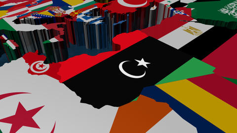Libya World Flag Map Animation