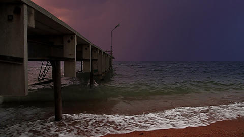 Stormy pier Stock Video Footage