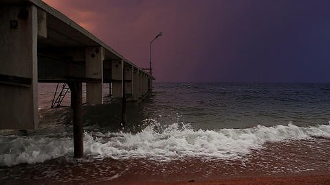 Stormy pier Stock Video Footage