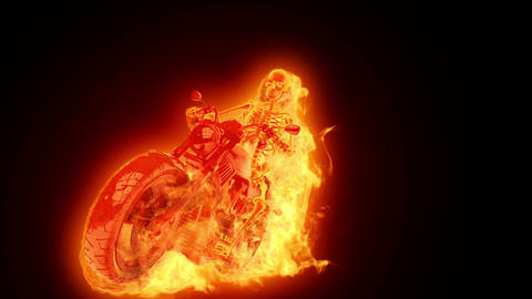 Skeleton biker on fire Stock Video Footage