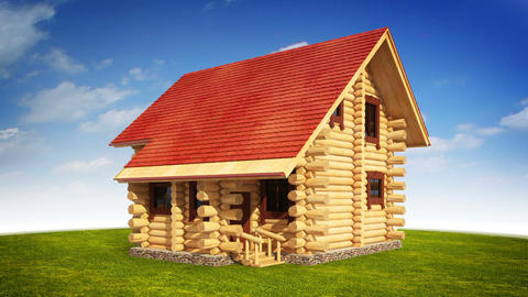 Animated construction of log house Stock Video Footage