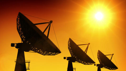 Array of satellite dishes Stock Video Footage