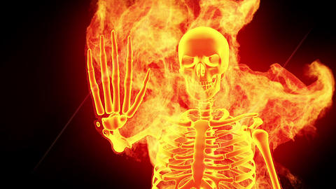 Fiery skeleton Animation