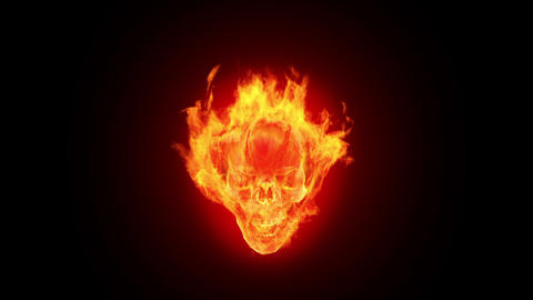 Fire skull, HD loop Stock Video Footage