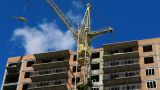 Construction Crane Working, Time Lapse stock footage