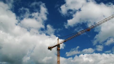 Construction crane working, time lapse Stock Video Footage