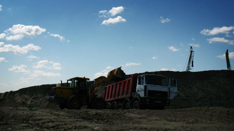 Loader working on a construction site Stock Video Footage