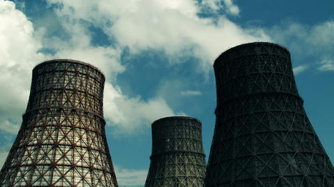 water-cooling tower Stock Video Footage