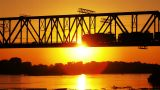 railway bridge at sunset Footage