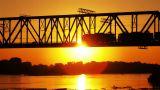 railway bridge at sunset Footage