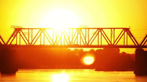 railway bridge at sunset Stock Video Footage