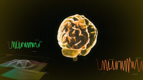 gold 3d brain wave screen Stock Video Footage