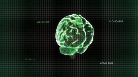 green brain rotate with timecode Stock Video Footage