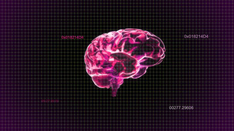 red brain rotate with timecode Animation
