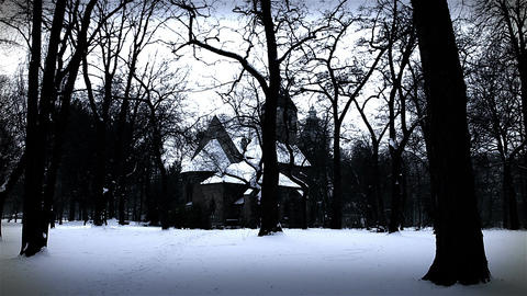 Chapel in Winter Forest 02 stylized Footage