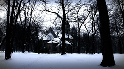 Chapel in Winter Forest 02 stylized Stock Video Footage