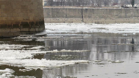 Ice on River 04 under bridge Stock Video Footage