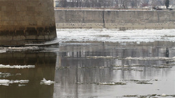 Ice on River 04 under bridge Stock Video Footage