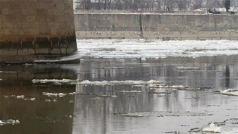 Ice on River 04 under bridge Footage